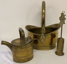 3 vintage brass items, a coal bucket with swing handle, small watering can & a companion set brush.