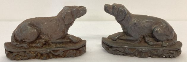 2 vintage cast iron, small doorstops of dogs.