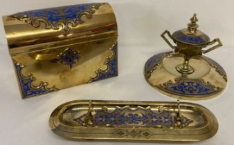 A vintage highly decorative enamelled brass, 3 piece desk set.