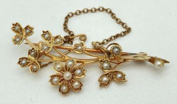 A vintage 15ct gold and seed pearl floral spray brooch with safety chain. Stamped 15ct to rear of