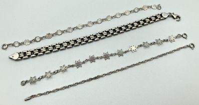 4 vintage and modern silver bracelets. A rope chain bracelet, floral link bracelet, flat square link