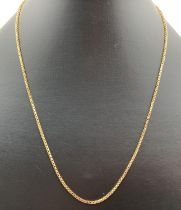 """An 18ct gold 18"""" box chain with spring clasp. Full hallmarks to fixing, clasp marked 750. Total"""