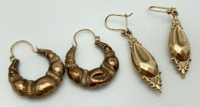 A pair of 9ct gold decorative creole style earrings, marked 375, together with a pair of