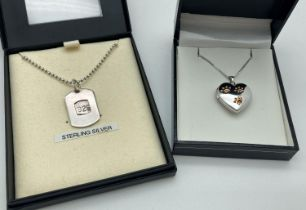 2 boxed silver necklaces. A dog tag style pendant on a 20 inch ball chain together with a