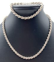 A vintage silver 16 inch silver rope chain with spring clasp together with a 7.5 inch matching