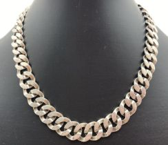 A heavy 16 inch 925 Mexican silver curb chain with push clasp and safety clip. Total weight approx