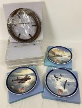 3 boxed 60th Anniversary V. E. Day collectors plates by Wedgwood, together with 4 boxed wall hanging