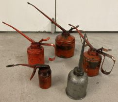 5 vintage metal oil cans. 4 red painted lever style cans together with a dome style long spouted