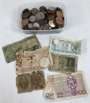 A tub of British and foreign bank notes and coins. To include examples from Italy, Belgium,