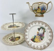 3 pieces of vintage ceramics decorated with Crinoline lady design and floral gilt detail. A heart