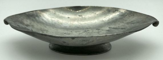 An Arts & Crafts Just Andersen Danish Pewter oval footed dish with ball shaped finial detail.