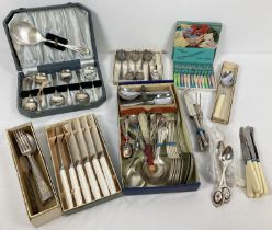 A box of assorted vintage boxed & unboxed cutlery items. To include: cased fruit spoon set, boxed