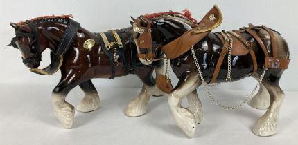 2 large Staffordshire ceramic shire horse figurines decorated with leather effect livery. Each