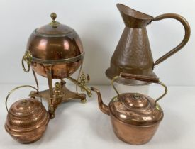 A heavy brass and copper Samovar together with a copper kettle, copper ale jug and a copper and