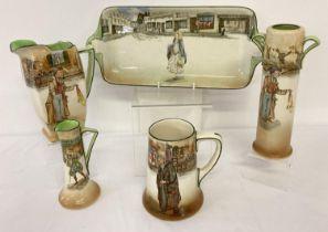 5 pieces of Royal Doulton Charles Dickens series ware. Comprising: Artful Dodger vase and jug,
