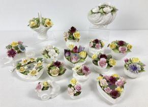 A quantity of assorted Coalport ceramic floral bud vases and ornaments. Some a/f.
