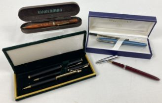 A collection of vintage and modern pens and pencils. Comprising a vintage Waterman's Ideal