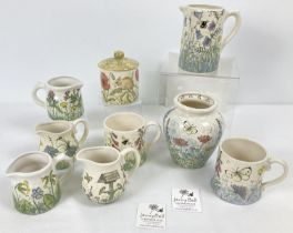 A collection of 9 pieces of modern Jenny Bell, hand painted ceramics. With designs inspired by the