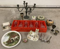 A mixed collection of vintage ceramics, glassware and metal ware. To include: Coalport pastille