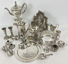 A box of assorted vintage silver plated items.