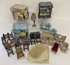 A box of assorted wire framed handmade dolls house furniture.