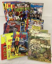A collection of modern annuals and books together with 5 vintage Giles cartoon books.