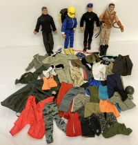 4 modern Action Men dolls and a box of assorted clothing and accessories.