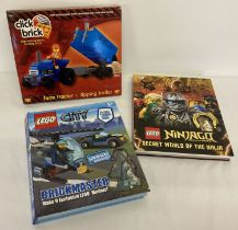 2 x DK Lego books with play pieces together with a boxed Click Brick Farm tractor & tipping trailer.
