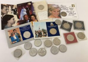 A collection of commemorative crowns to include 1997 Princess Diana Queen Of Hearts, Silver Jubil…