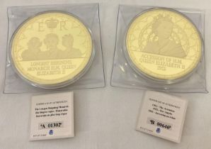 2 large gold plated 2016 British commemorative medallion coins complete with certificates. No. A0…