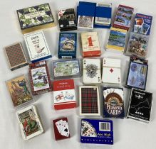 A box containing approx. 21 sets of playing cards in varying sizes and designs. To include Stratf…
