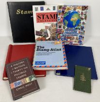 A box of vintage and modern stamp stock books and books relating to stamp collecting. To include …