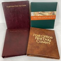 4 empty First Day Cover albums, in excellent condition. 2 x maroon Royal Mail folders, 1 green WH…