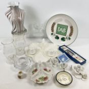 A box of assorted vintage and modern ceramics & glass. To include: a pair of Royal Worcester