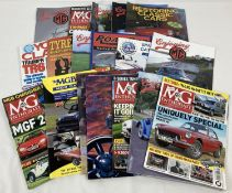 A collection of classic car magazines and catalogues, mostly MG related.