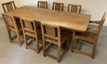 """Robert Thompson - classic Mouseman, 7'0"""" refectory table & 8 chairs, featuring rare mouse detail."""