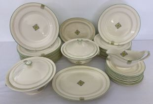A collection of mid century Mintons Ceramic dinner ware in green & yellow patternation.