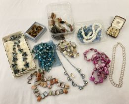 A collection of vintage jewellery necklaces and earrings to include glass, natural stone and shell.
