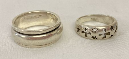 2 silver band style rings.