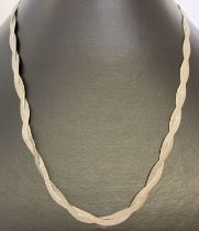 A plaited design 9ct white gold herringbone chain necklace with rose gold clasp.
