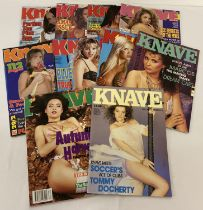 10 assorted issues of Knave, adult erotic magazine.