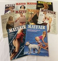 10 assorted vintage issues of Mayfair; Entertainment for Men, adult erotic magazine.