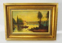 Landschaftsmalerei: See mit Boot und Bäumen.