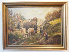 Heinrich Bode-Miller: Landschaftsmalerei - Heuernte.