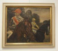 Peter Trumm: Zwei Jockeys auf Pferden.