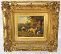 Simon van den Berg: Landschaftsmalerei mit drei Schafen auf Wiese.