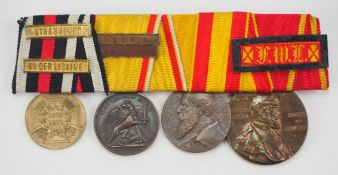 Baden: Ordenschnalle eines Veteranen des Deutsch-Französischen Krieges mit 5 Au