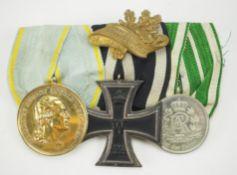 Sachsen: Ordenschnalle eines Trägers der Goldenen Medaille des Militär-St. Hein
