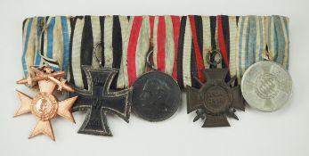 Bayern: Ordenschnalle mit 5 Auszeichnungen.