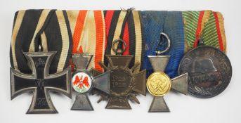 Preussen: Ordenschnalle eines Landwehr-Offiziers mit 5 Auszeichnungen.